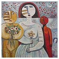 'Lovers' - Signed Cubist Painting of Two Lovers from Peru