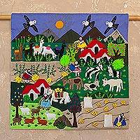 Cotton blend patchwork wall hanging, 'Andean Harvest' - Cotton Blend Patchwork Wall Hanging of an Andean Scene