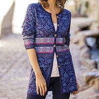 100% baby alpaca cardigan, 'Romantic Nature in Indigo' - Nature-Themed 100% Baby Alpaca Cardigan in Indigo from Peru