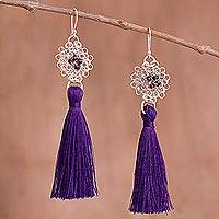 Silver dangle earrings, 'Passionate Nest in Blue-Violet' - Silver Dangle Earrings with Blue-Violet Tassels