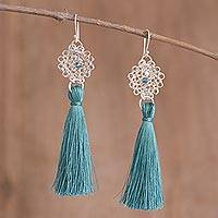 Silver dangle earrings, 'Passionate Nest in Teal' - Silver Dangle Earrings with Teal Tassels from Peru