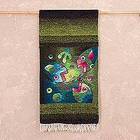 Alpaca blend tapestry, 'Fish Game' - Green Fish-Themed Alpaca Blend Tapestry from Peru
