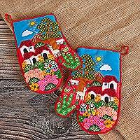Cotton blend decorative oven mitts, 'Andean Nature' (pair) - Patchwork Cotton Blend Decorative Oven Mitts (Pair)