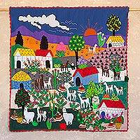Cotton blend wall hanging, 'Colorful Andean Afternoon' - Arpillera Cotton Blend Patchwork Wall Hanging from Peru