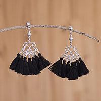 Sterling silver waterfall earrings,