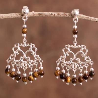 Tiger's eye chandelier earrings, 'Colonial Design' - Tiger's Eye Chandelier Earrings Crafted in Bali