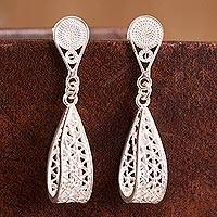 Sterling silver filigree dangle earrings, 'Glistening Utopia' - Sterling Silver Filigree Dangle Earrings Crafted in Peru