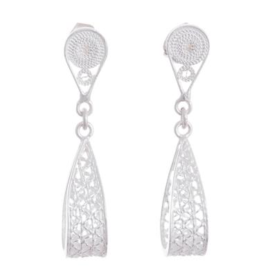 Sterling silver filigree dangle earrings, 'Glistening Utopia' - Sterling Silver Filigree Dangle Earrings Crafted in Peru