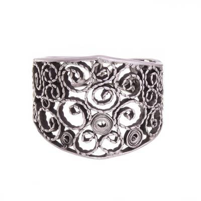 Sterling silver filigree band ring, 'Colonial Swirl' - Sterling Silver Filigree Band Ring from Peru