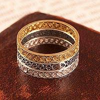 Gold plated and sterling silver filigree band rings, 'Colonial Trilogy' (set of 3) - Three Gold Plated and Sterling Silver Filigree Band Rings