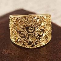 Gold plated sterling silver filigree band ring, 'Colonial Swirl'