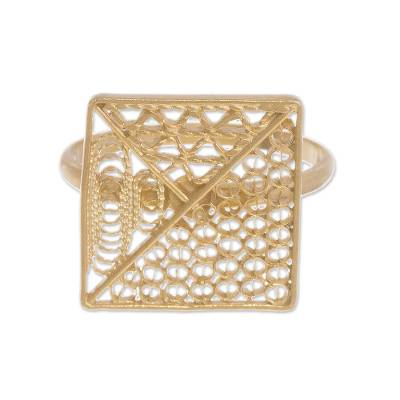 Gold plated sterling silver filigree cocktail ring, 'Colonial Square' - Gold Plated Sterling Silver Filigree Cocktail Ring from Peru