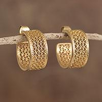 Gold plated sterling silver filigree half-hoop earrings, 'Colonial Sophistication'