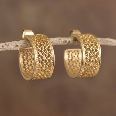 Gold plated sterling silver filigree half-hoop earrings, 'Colonial Sophistication' - Gold Plated Sterling Silver Filigree Half-Hoop Earrings