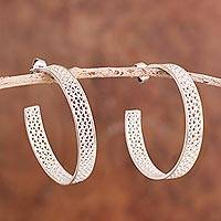 Sterling silver filigree half-hoop earrings, 'Colonial Intricacy'