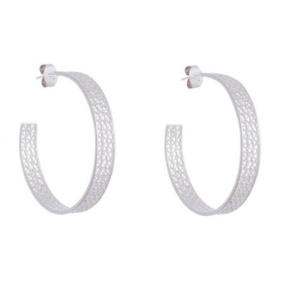Sterling silver filigree half-hoop earrings, 'Colonial Intricacy' - Sterling Silver Filigree Half-Hoop Earrings from Peru