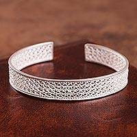 Sterling silver filigree cuff bracelet, 'Colonial Shine'