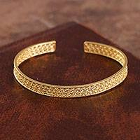 Gold plated sterling silver filigree cuff bracelet, 'Colonial Shine'
