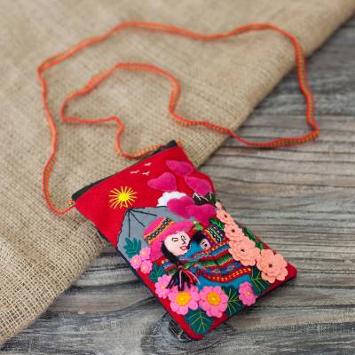 Cotton blend cell phone bag, 'Mama of the Andes' - Handcrafted Arpillera Cotton Blend Cell Phone Bag from Peru