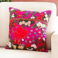 Cotton blend cushion cover, 'Garden Love' - Handcrafted Arpillera Cotton Blend Cushion Cover from Peru