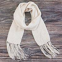 100% alpaca scarf, 'Alabaster Princess' - Hand-Knit 100% Alpaca Scarf in Alabaster from Peru