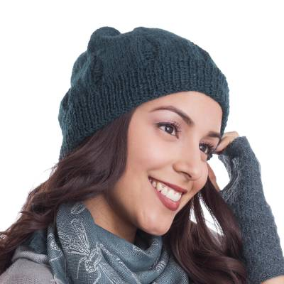 Hand-Knit 100% Alpaca Hat in Teal from Peru