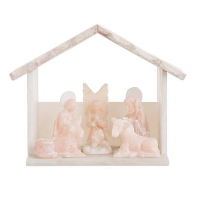 Handmade Alabaster Nativity Scene in Beige from Peru