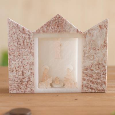 Alabaster nativity scene, 'My Sacred Family' - Alabaster Nativity Scene in Pink from Peru
