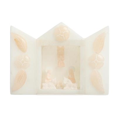 Ivory-Hued Alabaster Mini Nativity Scene from Peru (4 in)