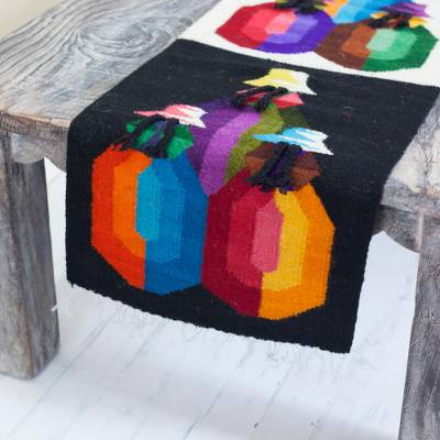 Wool table runner, 'Andean Women' - Cultural Handwoven Wool Table Runner Crafted in Peru