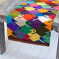 Wool table runner, 'Sweet Natural Enchantment' - Bird-Themed Handwoven Wool Table Runner from Peru