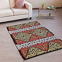 Wool area rug, 'Nobility' (4x6) - Handwoven Geometric Wool Area Rug from Peru (4x6)