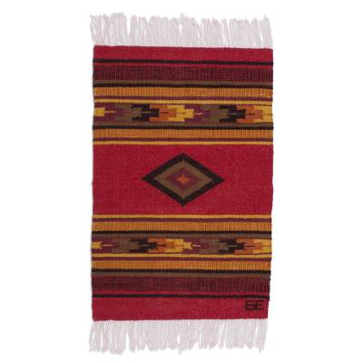 Inca-Inspired Wool Area Rug from Peru (2x3)