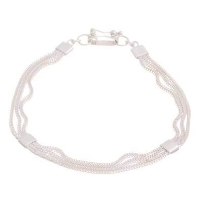 Sterling silver chain bracelet, 'Silver Royalty' - Sterling Silver Foxtail Chain Bracelet from Peru