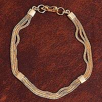 Gold plated sterling silver chain bracelet, 'Gold Royalty' - 21k Gold Plated Sterling Silver Chain Bracelet from Peru
