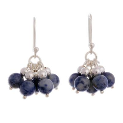 Natural Sodalite Cluster Earrings from Peru