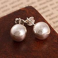 Sterling silver stud earrings, 'Gleaming Orbs' - Round Sterling Silver Stud Earrings Crafted in Peru