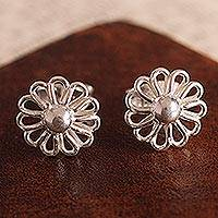 Sterling silver stud earrings, 'Beautiful Margarita' - Margarita Flower Sterling Silver Stud Earrings from Peru