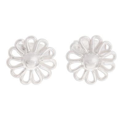 Sterling silver stud earrings, 'Beautiful Margarita' - Margarita Flower Sterling Silver Stud Earrings from Peru