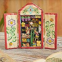 Wood retablo, 'Fruit Shop' - Hand-Painted Wood Fruit Shop Retablo from Peru