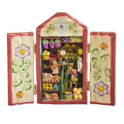Wood retablo, 'Fruit Shop' - Hand-Painted Wood Fruit Shop Retablo from Peru