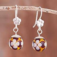 Art glass dangle earrings, 'Murano Flowers' - Floral Art Glass Dangle Earrings from Peru