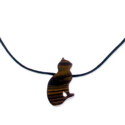 Handcrafted Wood Cat Pendant Necklace from Peru