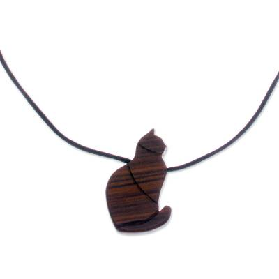 Guacayan Wood Cat Pendant Necklace from Peru
