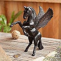 Cedar wood sculpture, 'Magic Pegasus'