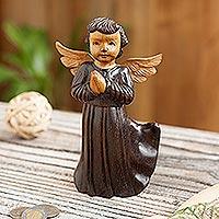 Cedar wood sculpture, 'Celestial Angel' - Hand-Carved Cedar Wood Angel Sculpture from Peru