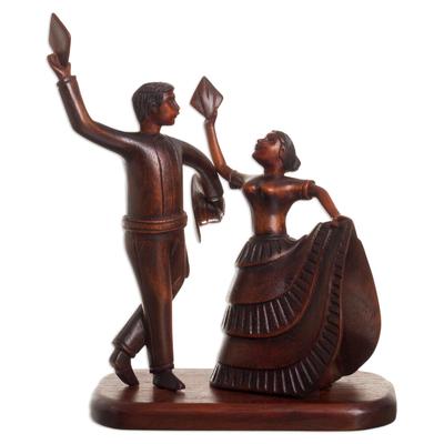 Cedar wood sculpture, 'Marinera Pair' - Hand-Carved Cedar Wood Marinera Sculpture from Peru