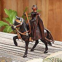 Leather accented cedar wood sculpture, 'Marinera Dance on Horse' - Leather Accented Cedar Wood Marinera Sculpture from Peru