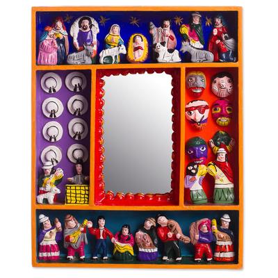 Wood wall mirror, 'Ayacucho Birth' - Retablo-Style Nativity Wood Wall Mirror from Peru