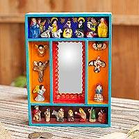 Wood wall mirror, 'Nativity Reflection' - Nativity-Themed Wood and Ceramic Wall Mirror from Peru